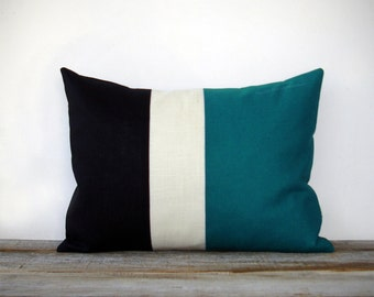 Teal Colorblock Stripe Pillow in Cream and Black Linen by JillianReneDecor Modern Home Decor Color Preppy Striped Trio