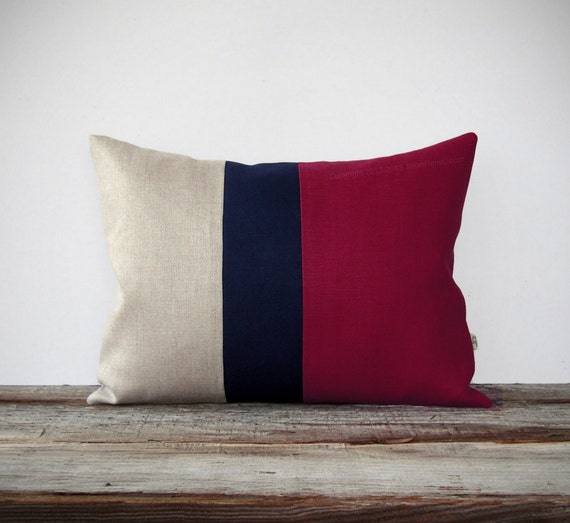 Color Block Stripe Pillow in Crimson, Navy and Natural Linen by JillianReneDecor | Home Decor | Stripe Colorblock Trio | Oxblood | Garnet