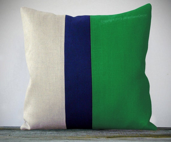 Color Block Stripe Pillow 20x20 Emerald Green By