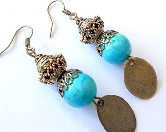 Turquoise earrings, brass earrings, dangle earrings, gypsy drop earrings, gift, turquoise jewelry, bohemian jewelry