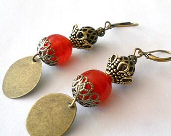 Statement earrings, red boho earrings, gypsy dangle earrings, gift under 20, brass earrings, bohemian jewelry, brass jewelry, red jewelry