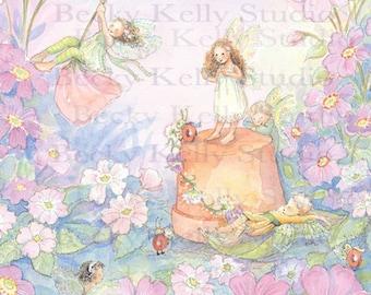 Playful Fairy Art, Print, Garden Fairies, Purples, Flower Pot Play, 8 X10 Print, By Becky Kelly