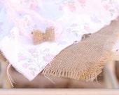 Three Piece Newborn Layering Set with Tie Back Headband... Burlap Cotton