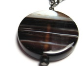 Banded Agate Chain Pendant Necklace