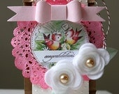 Shabby Chic --CONGRATULATIONS-- Vintage Wedding Birds Embellished Gifting Tag