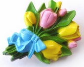 Tulip Flower Bouquet Brooch Novelty Pin Blue Ribbon