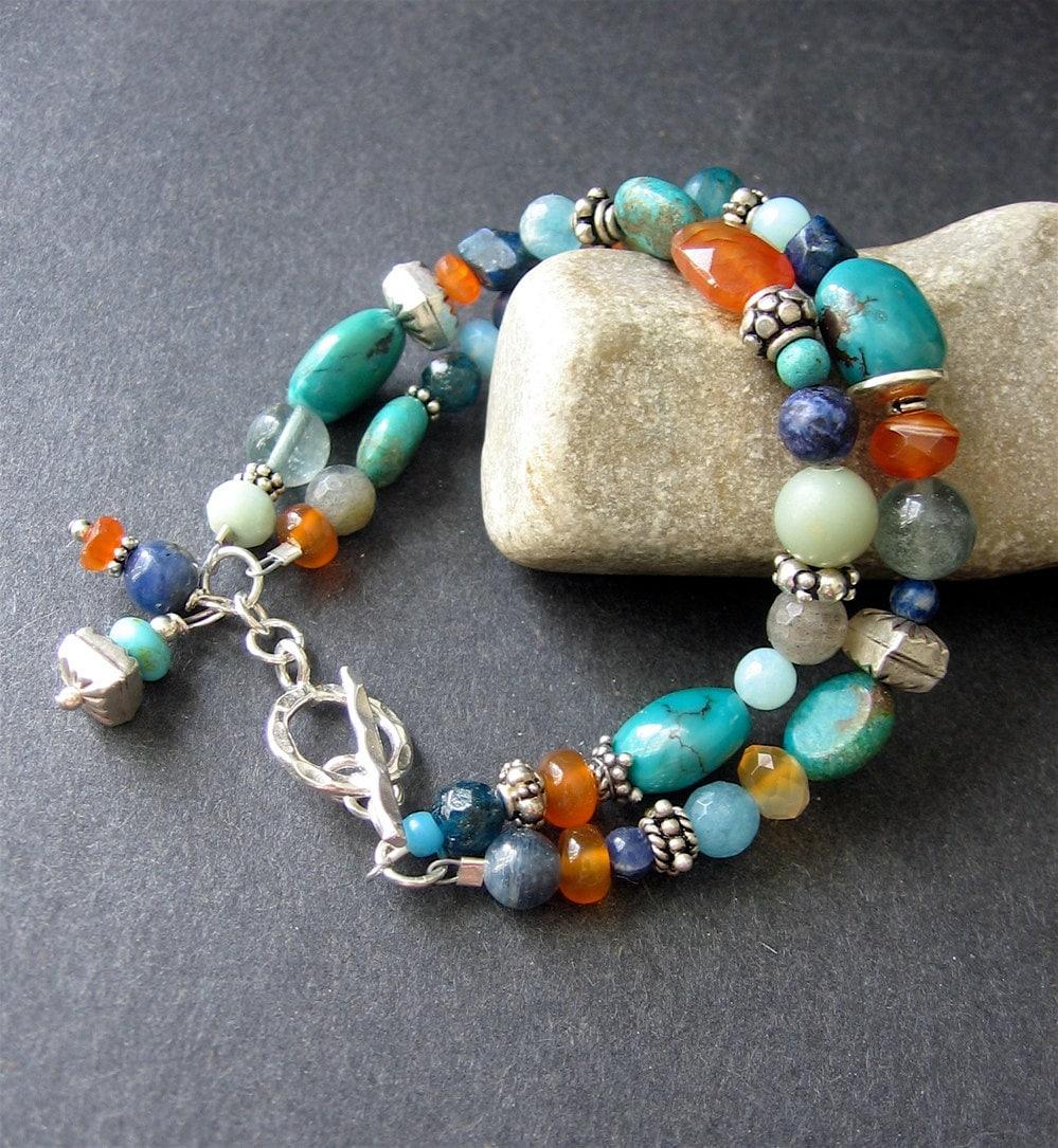 Multistone Beaded Bracelet Turquoise Carnelian