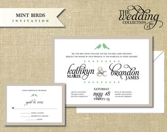 Mint Birds Invitation Sample Set