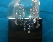 Moon Star Dangle  Earrings with Swarovski Crystal Elements