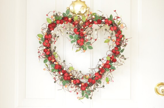 Heart  wreath -  red roses - front door decor - year round decoration