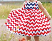 Knot Dress- Red, White and Navy Blue Chevron- Available sizes: 12 months -Size 6- Handcrafted by VALERIYA