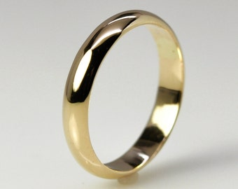 14K Yellow Gold Classic Wedding Band, 4mm by 1.5mm Half Round Shape, Eco Friendly Sea Babe Jewelry