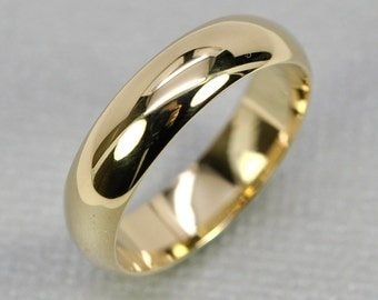 14K Yellow Gold Mens Wedding Band Half Round Classic Shape 5 x 1.5mm, sizes 6-8 this listing, Sea Babe Jewelry
