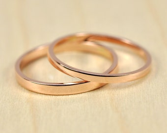 Rose Gold Skinny Ring Set, 1.5 by 1mm and 2 by 1mm Squared Edge Rings, Stacking Simple Bands, Sea Babe Jewelry