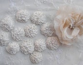 12 pc IVORY Cottage Chic Crocheted Flower Applique w Pearl Baby Doll Bow