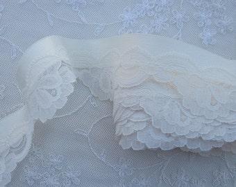 ORIGINAL DESIGN Cream Ivory Satin Ribbon Lace Rose Flower Christening  Trim Pageant Baby Doll Quilt Bridal Clothing