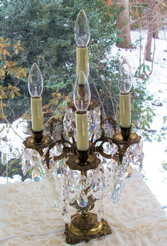 Vintage Brass Bronze Crystal Candelabra Table By