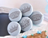 Handmade Large Victorian Retro Blue Princess Crown Fabric Covered Buttons Fridge Magnets, Flat Backs, 1.25 Inches 5's