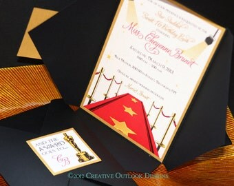 Hollywood Red Carpet Oscar Sweet 16 Birthday Party Invitation