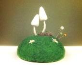 White Gnome Mushrooms and Daisies Pincushion Nature Scene Home Decor