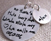 Personalized Necklace - So There's This Boy Mother's Necklace - Personalized Jewelry - hand stamped necklace