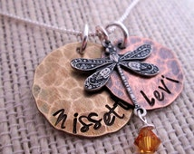 Earthy Baby  Mother's necklace - dragonfly charm necklace - hand stamped necklace