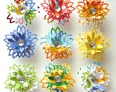 Oxford - decorative paper flower memo clips - made to order