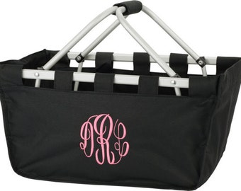 Large Personalized Monogrammed Collapsible Market Tote   BLACK