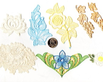 Lot of 8 - Vintage - Flower DAISY Wedding Dress Appliques Patches Yellow Rose Ecru Grapes