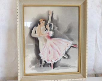 Vintage framed signed Harris ballet dancers Hollywood Regency airbrush watercolor painting pink tutu ballerina print