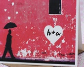 Personalized Graffiti Heart with Lovers initials (1 card)