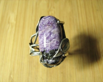 Charoite Adjustable Vine Ring