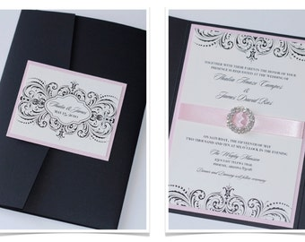 Elegant Wedding Invitation - Vintage Wedding Invitation - Romantic Wedding Invitation - Lace Invite - Blush Wedding - Thalia Sample