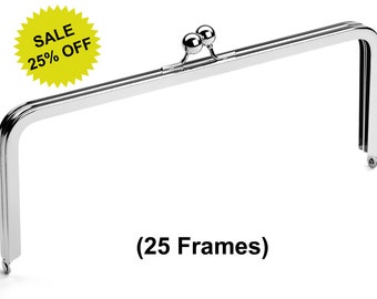 "25pcs - 10"" x 4"" Nickel Purse Frame with Ball Clasp - Free Shipping (PURSE FRAME FRM-128)"