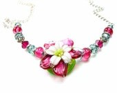 Statement Necklace, SRA Lampwork Glass Sterling Silver Necklace, Ruby Pink & Emerald Green OOAK One of a kind Glass Necklace