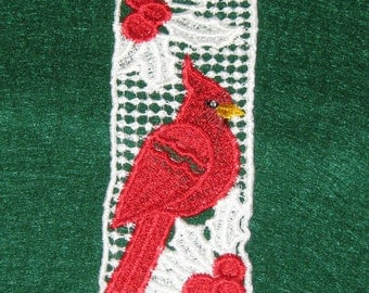 "Machine Lace Bookmark, Cardinal, side view, 4 3/4"" x 1 3/4"""