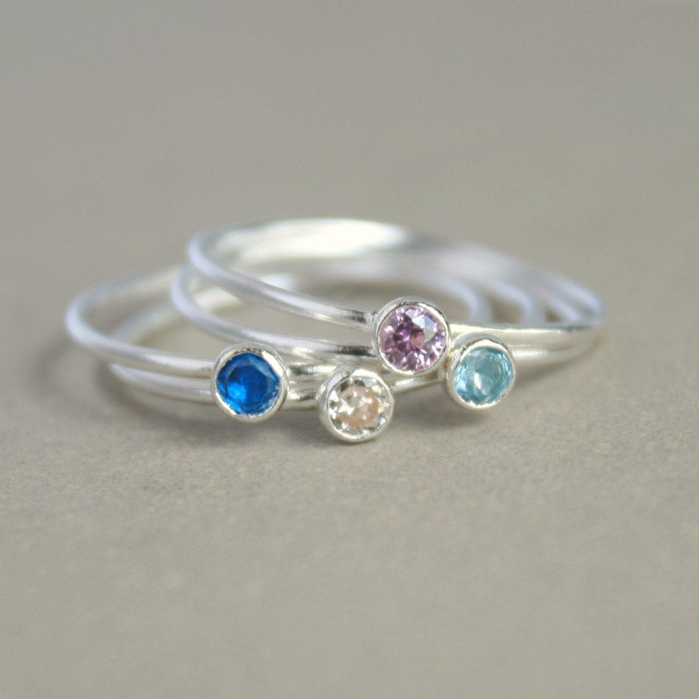 birthstone ring one stackable birthstone gemstone ring