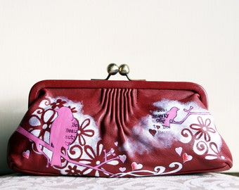 Kiss Clutch Red Leather Bag Handpainted Springtime Lovebirds OOAK Art