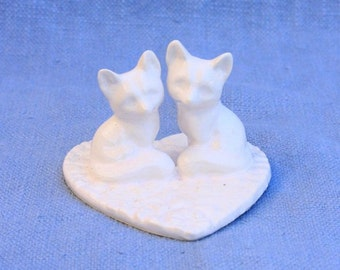 Wedding Cake Topper Two Foxes on a Heart
