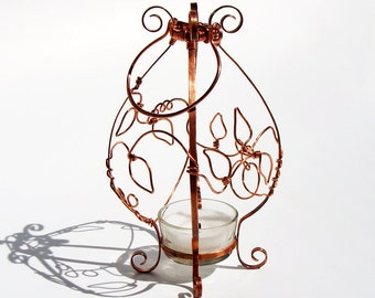 Romantic Copper Vine Candle Lantern