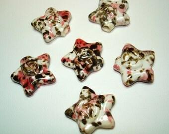 White Speckled Glazed Porcelain Star Beads (Qty 6) - B1687