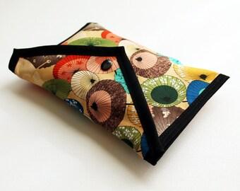 Handmade cosmetic fold over pouch - Peach Parasols - Kezbirdie