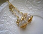 Custom for Mee-Crystal Quartz, Vermeil, Freshwater Pearl, White Topaz Earrings-La Galerie des Glaces Earrings