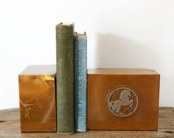 vintage Equestrian 50s Mid Century Wild Horses Mustang Brass Metal Book Ends Bookends