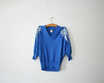 vintage 70s Dolman Sleeve Slouchy Cornflower Blue Beaded Floral Embroidery Sweater