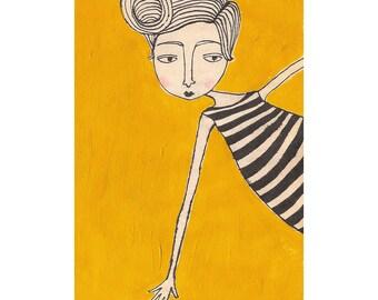 girl in stripes (4x6 print)