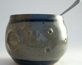 Grey and Blue Ceramic Moon Tea Bowl