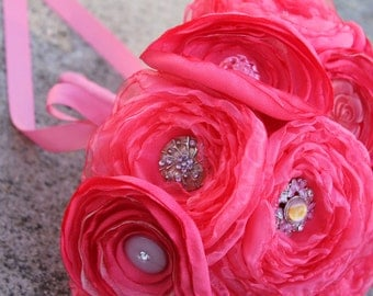 SALE - The Pink Lindy Satin Organza and Button Bouquet
