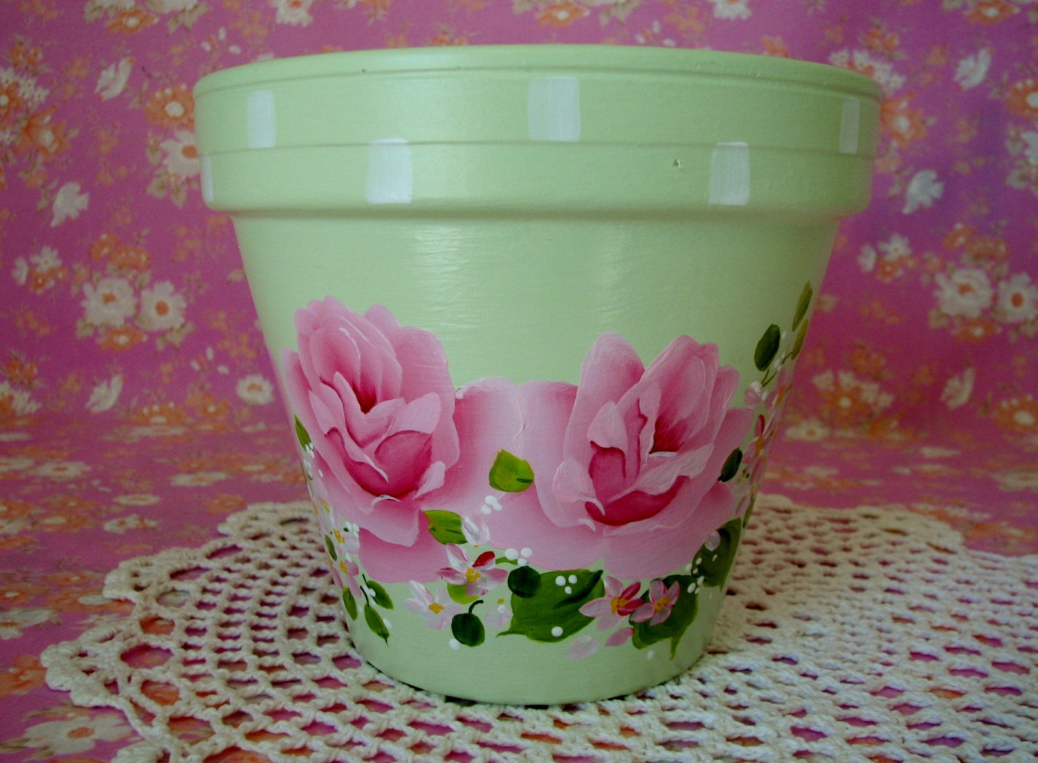 hand painted terracotta clay decorative flower pot pink roses