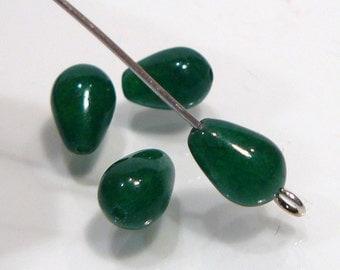 Dark Green Smooth Jade Briolette Gemstone Beads....9x6mm.....4 Beads